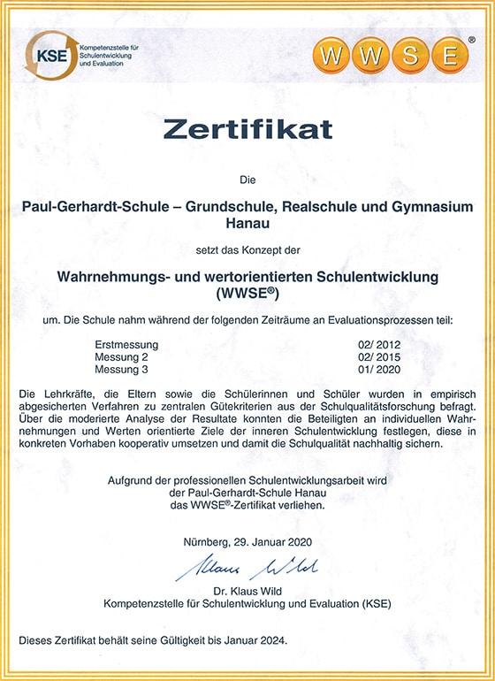 WWSE Zertifikat